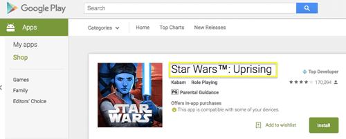 Google store app title