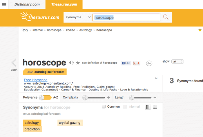 thesaurus keywords