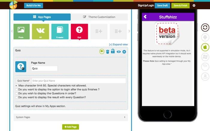 create a quiz app