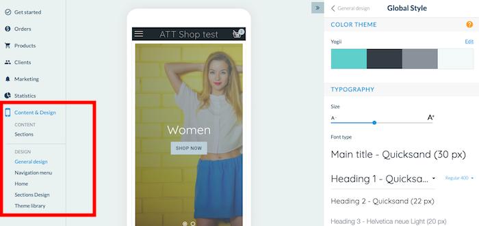 GoodBarber Shopping app Design options